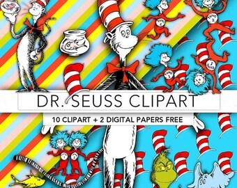 30% OFF SALE Dr Seuss clipart,Dr Seuss clip art,Dr Seuss digital paper,scrapbook,printable party,Dr Seuss the cat DS002