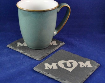 Mum Engraved Slate Coaster: Ideal Mothers Day gift