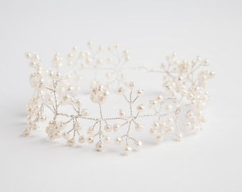 Silver-plated real freshwater pearl bridal headpiece