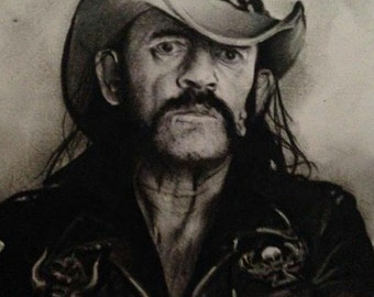 Original Hand drawn charcoal pencil drawing - LEMMY - MOTORHEAD