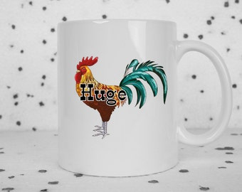 Mature funny coffee mug, huge penis, huge cock, rooster, coffee mug, adult humor mug, coffee cup, gifts for him, rude mugs, funny gifts