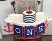 Boy's anchor First Birthday Banner, nautical Red, white and blue, birthday banner, i am one banner, photo prop, customizeable