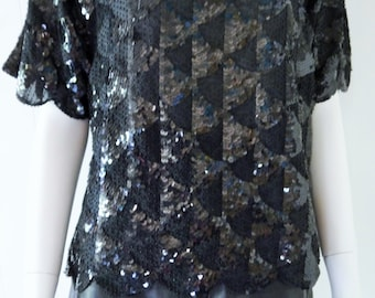 Black Hand beaded/sequinned top