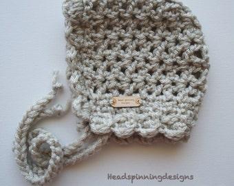 Crochet Bonnet - V on V Style with Popcorn Trim