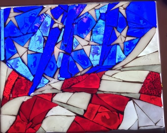 American flag stained glass mosaic