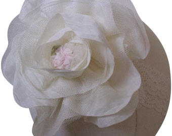 Ivory Silk rose with Tulle and Pink Rose and Ivory Lace Baby Headband