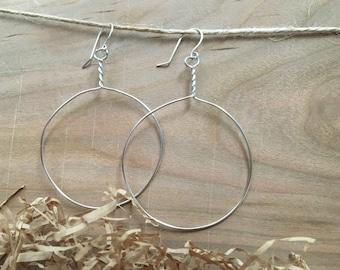 Large round wire hoop earrings