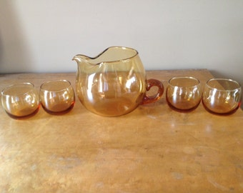 Vintage Amber/ Yellow Pitcher and roly poly glasses