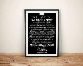 Geek (N) - In This House... We Do Harry Potter (White on Black)