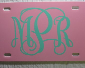 MONOGRAMMED License Plate ~Choose your Plate AND Monogram Color~ | initials | curly | vine | custom license plate | personalized | monogram