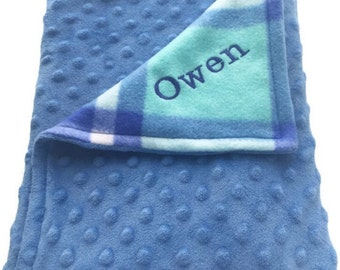 """35""""x28"""" Extra Soft Plush Minky Embroidered Personalized Reversible Baby Blanket"""