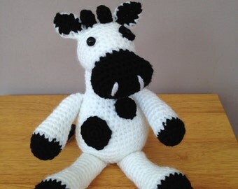 Handmade crochet cow toy, plush crochet cow, crochet toy