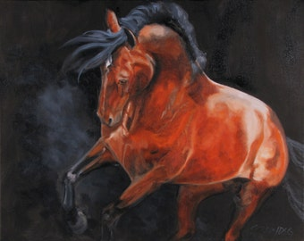 """Equine art """"Red Star"""" SALE"""