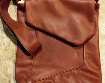 Leather Messenger Bag, 1940's Vintage Style Genuine Leather, Cross body leather bag