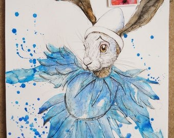 Ashes to Ashes, Hare, David Bowie, Hares, original artwork, quirky art, animal art,