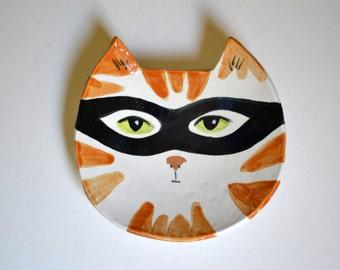 Hand Painted Cat Bandit Decorative Ceramic 6 inch Dish in Orange and White
