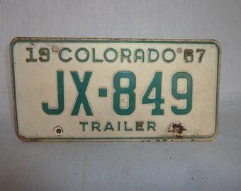 Vintage 1967 Colorado Trailer License Plate
