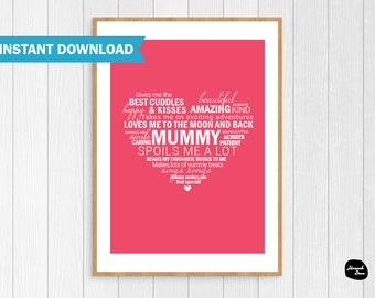 MUMMY HEART PRINT - Instant Download - 8x10 - Love - Heart - Words - Wall Art - Printable Digital File - Gift Idea