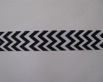 "black white chevron grosgrain ribbon 7/8"" per 1 metre scrapbooking card making craft hair"