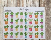 S026  Kawaii Cactus Stickers for your Planner, Journal, or Scrapbook