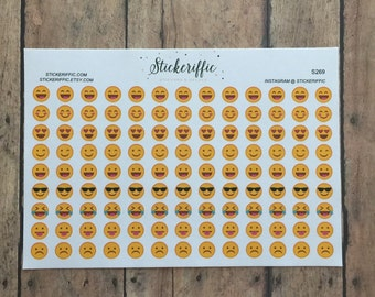 S269  Mini Emoji Stickers - 117 Stickers for your Planner, Journal, or Scrapbook