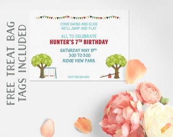 Park Invitation, Park Birthday Invitation Kids Invitation, Cupcake Toppers, Boy Girl Invitation,  Playground Invitation Printable Invitation
