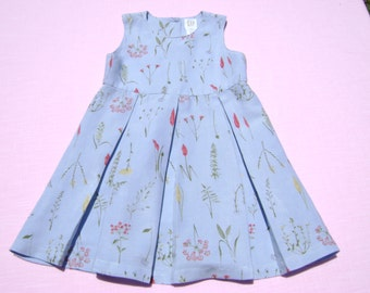 vintage baby gap girls linen blend dress size 3xl which is 30-36 months see measurements floral pleats