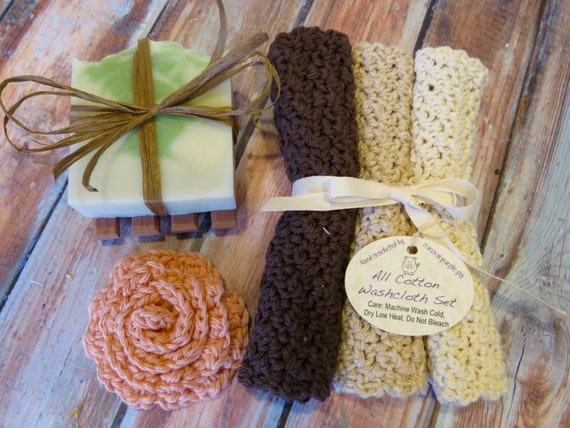 Vegan Mother's Day gifts: Vegan Soap and Washcloth Set