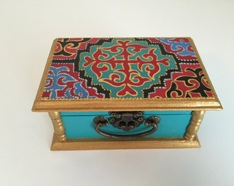 Hand painted wooden jewelry box, memory box, for gift, mother day gift