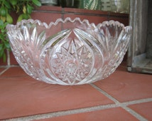 Hobstar Clear Glass Bowl Vintage 1940's Pressed Glass Sawtooth Rim Star Bottom Depression Glass Serving Dining Collectible -Kit025