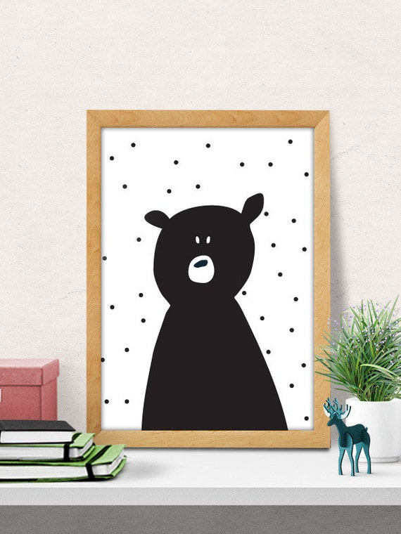 Bear print nursery wall art modern nursery decor cute for Baby room wall decoration