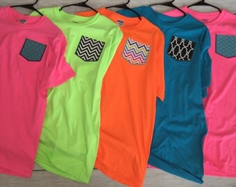 SALE! Monogrammed applique pocket tees for women! Size Medium, Large, and Extra Large.