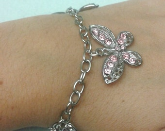 Bracelet with butterflies with pink strass; Butterfly addicted; Made in Italy