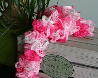 Knit Bright Pink and White Lace Ruffle Scarf