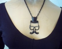 "TOP HAT & glasses...moustache...black necklace...16"" chain...."