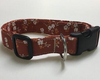 Orange and White Flower Print Dog Collar