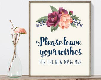 Wedding Wishes Sign DIY, For New Mr and Mrs /Burgundy Peony Berry Bouquet, Peach Blush Pink Ranunculus, Fall Wedding ▷ Instant Download JPEG