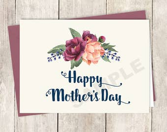 Happy Mother's Day Card DIY Printable / Burgundy Peony Berry Bouquet, Peach Blush Pink Ranunculus, Fall ▷ Instant Download PDF
