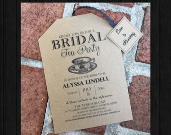 Rustic Tea Party Bridal Shower Invitations