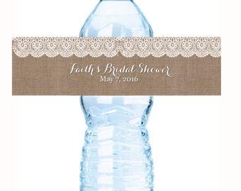 Burlap and Lace Bridal Shower Water Bottle Labels - Rustic Burlap Bridal Shower Bottle Labels - Country Bridal Shower Labels - Wedding Decor