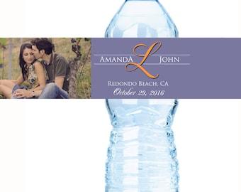 Monogram Water Bottle Labels - Wedding Bottled Water Labels - Wedding Water Bottle Labels  - Photo Water Bottle Labels  - Water Bottle Wraps