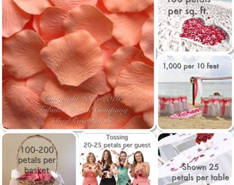Rose Petals - Peachy Silk Rose Petals Value Pack
