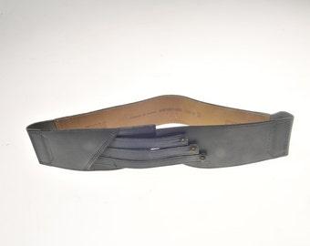 Blue vintage leather belt wide belt made in France Emmanuelle Khanh NEW! new! year 80