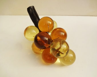Mod Chunky Lucite Grape Cluster - Amber - Large Retro Lucite Grape Bunch