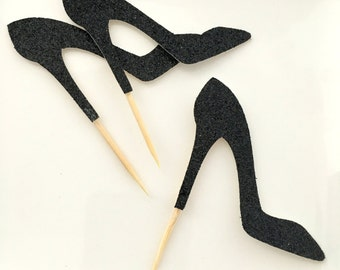 12 Black stiletto cupcake toppers .. bridal shower .. bachelorette party