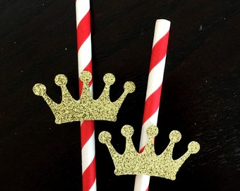 Prince themed birthday party .. crown on paper straws .. birthday party .. red and gold