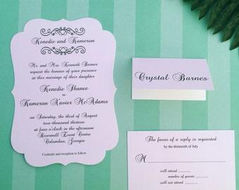 Vintage Chic Die Cut Wedding Invitations