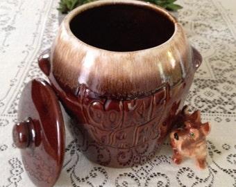 Cookie Jar McCoy Cookie Jar Vintage Cookie Jar Brown Drip Glaze Jar Big Cookie Jar Made in USA Retro Ceramic Cookie Jar Brown Cookie Jar