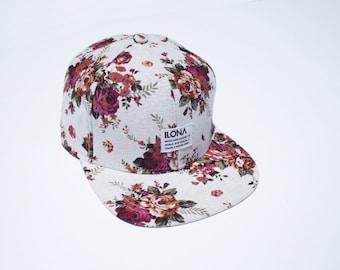 Floral Baseball Cap w/ Adjustable Leather Strap