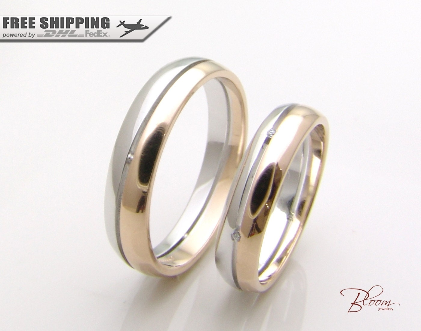 unique wedding rings 14k gold couples ring set two tone